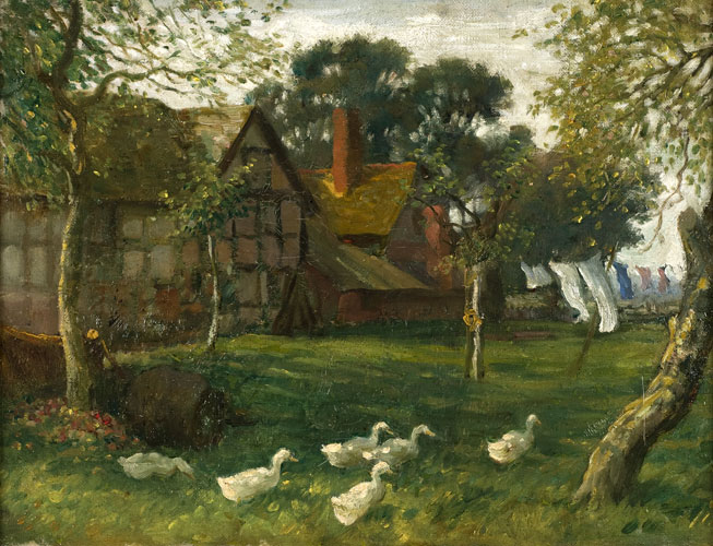 Farm at Warham, by Brian Hatton (1887-1916)  Image: Herefordshire Museums Service, Herefordshire County Council
